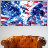 Design Art 'Hockey USA Goalie' Canvas Art Print - 32 in. wide x 16 in. high