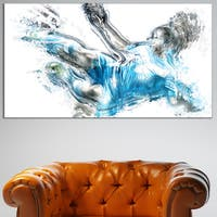 Design Art 'Soccer Power Kick' Canvas Art Print - 32 in. wide x 16 in. high