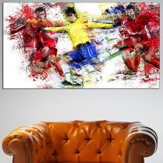 Design Art 'Soccer Break Away' Canvas Art Print - 32 in. wide x 16 in. high