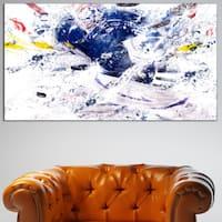 Design Art 'Hockey Slap Shot' Canvas Art Print - 32 in. wide x 16 in. high