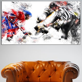 Design Art 'Hockey Face Off' Canvas Sport Art Print - 32 in. wide x 16 in. high
