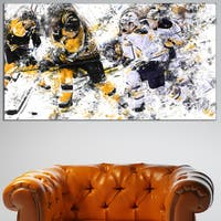 Design Art 'Hockey Power Play' Canvas Art Print - 32 in. wide x 16 in. high