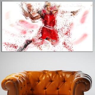 Design Art 'Basketball Slam Dunk' Canvas Art Print - 32 in. wide x 16 in. high