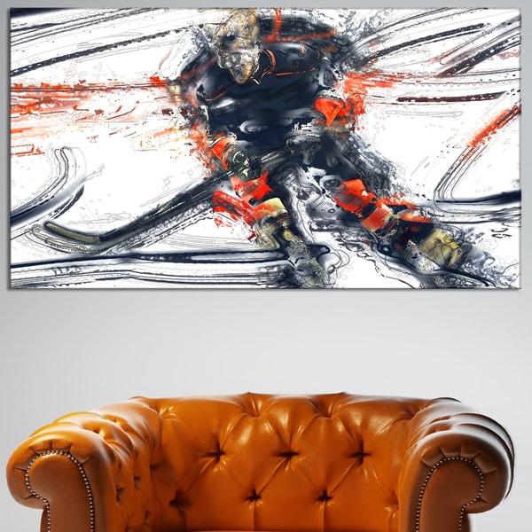 Design Art 'Hockey In Motion' Canvas Art Print - White/Blue