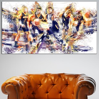 Design Art 'Basketball Lets Go Offense' Canvas Art Print - 32 in. wide x 16 in. high