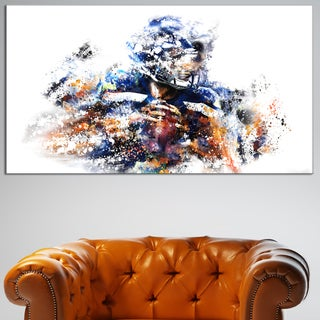 Design Art 'Football Quarterback' Canvas Art Print - 32 in. wide x 16 in. high