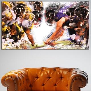 Design Art 'Football Hut' Canvas Art Print - 32 in. wide x 16 in. high