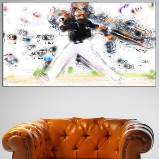 Design Art 'Baseball Home Run' Canvas Art Print - 32 in. wide x 16 in. high