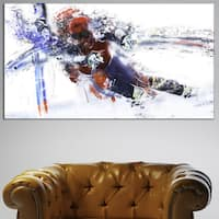 Design Art 'Skiing Down Hill Race' Canvas Art Print - 32 in. wide x 16 in. high