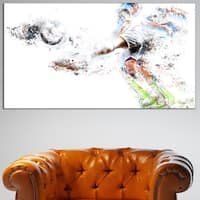Design Art 'Soccer Defense' Canvas Art Print - 32 in. wide x 16 in. high