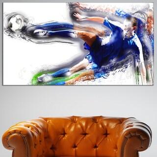 Design Art 'Soceer Big Kick' Canvas Art Print