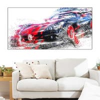 Design Art 'Red and Black Sports Car' Canvas Art Print - Red/black - 32 in. wide x 16 in. high
