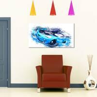 Design Art 'Sky Blue and Black Sports Car' Canvas Art Print - 32 in. wide x 16 in. high