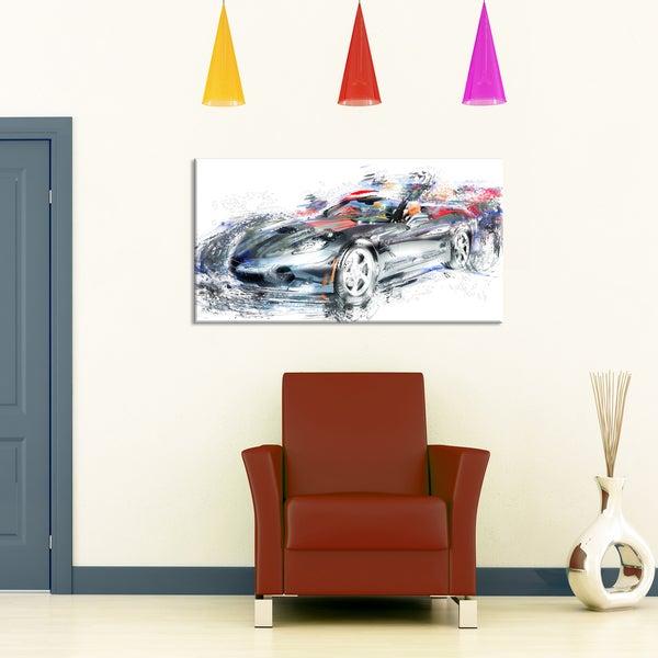 Design Art 'High End Luxury Car' Canvas Art Print - 32 in. wide x 16 in. high