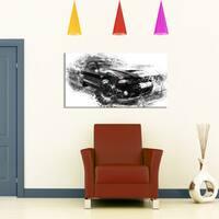 Design Art 'Black and White Muscle Car' Canvas Art Print