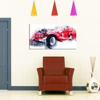 Design Art 'Red Vintage Classic Car' Canvas Art Print - 32 in. wide x 16 in. high