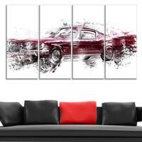 Design Art 'Wine Colored Muscle Car' Canvas Art Print