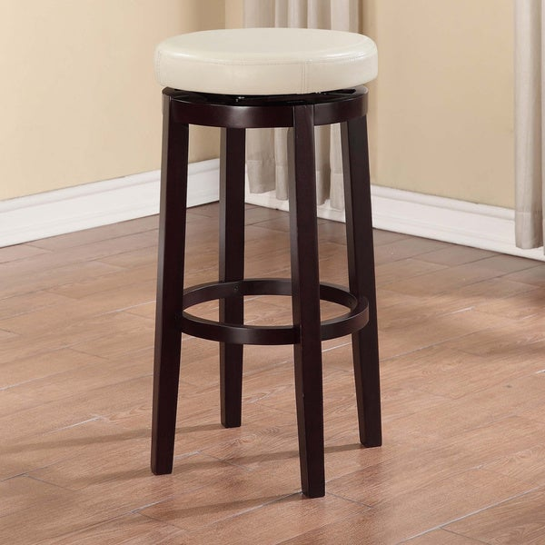 linon dorothy backless bar stool off white swivel seat free shipping today. Black Bedroom Furniture Sets. Home Design Ideas