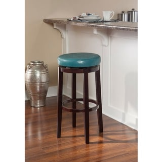 Linon Dorothy Backless Counter Stool Aqua Blue Swivel Seat