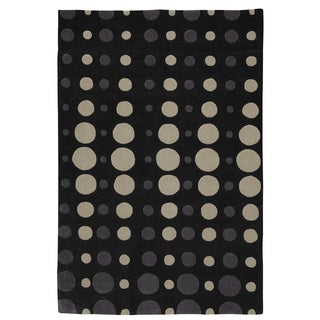 Somette Trio Ping Pong Black/ Grey/ Beige Area Rug (5' x 7'6)