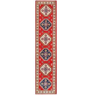 Herat Oriental Afghan Hand-knotted Tribal Kazak Red/ Ivory Wool Rug (2'7 x 11'10)