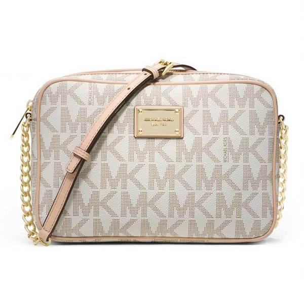 Michael Kors Jet Set Vanilla Signature Crossbody Handbag