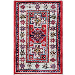 Herat Oriental Afghan Hand-knotted Tribal Kazak Red/ Ivory Wool Rug (1'11 x 2'11)