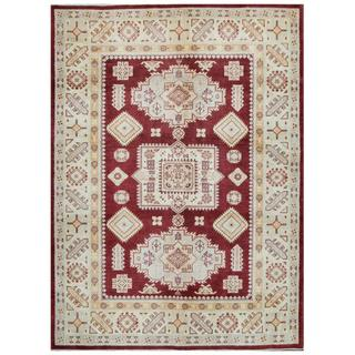 Herat Oriental Afghan Hand-knotted Tribal Kazak Red/ Ivory Wool Rug (5'6 x 7'7)