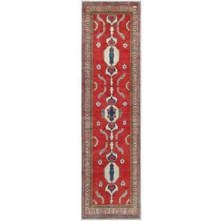 Herat Oriental Afghan Hand-knotted Tribal Kazak Red/ Beige Wool Rug (2'7 x 9'2)