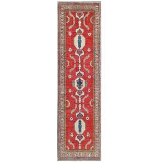 Herat Oriental Afghan Hand-knotted Tribal Kazak Red/ Beige Wool Rug (2'6 x 9'3)