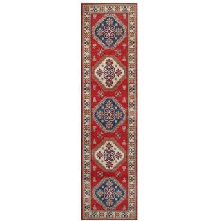 Herat Oriental Afghan Hand-knotted Tribal Kazak Red/ Ivory Wool Rug (2'8 x 10'5)