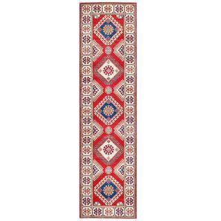 Herat Oriental Afghan Hand-knotted Tribal Kazak Wool Runner (2'8 x 9'10)