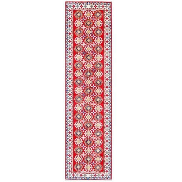 Herat Oriental Afghan Hand-knotted Tribal Kazak Wool Runner (2'7 x 10')