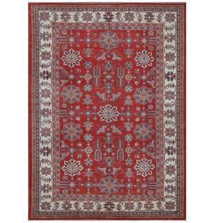 Herat Oriental Afghan Hand-knotted Tribal Super Kazak Red/ Ivory Wool Rug (10'3 x 14'3)
