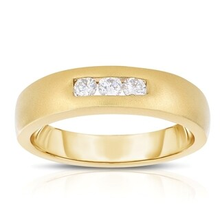 Eloquence 14k Yellow Gold Men's 1/3ct TDW Diamond Wedding Band