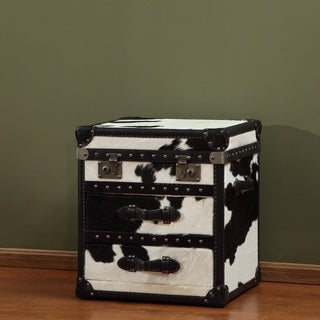 General 2-drawer Leather Steamer End Table