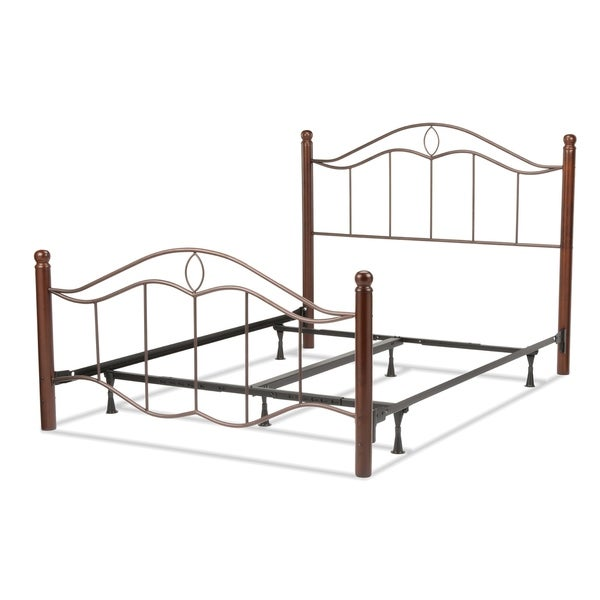 Cassidy Complete Bed with Metal Panels and Dark Walnut Wood Posts