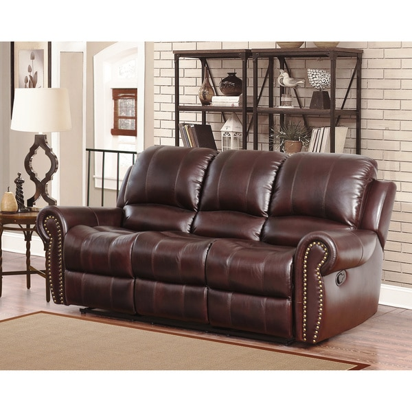 Shop Abbyson Broadway Top Grain Leather Reclining Sofa - On Sale ...