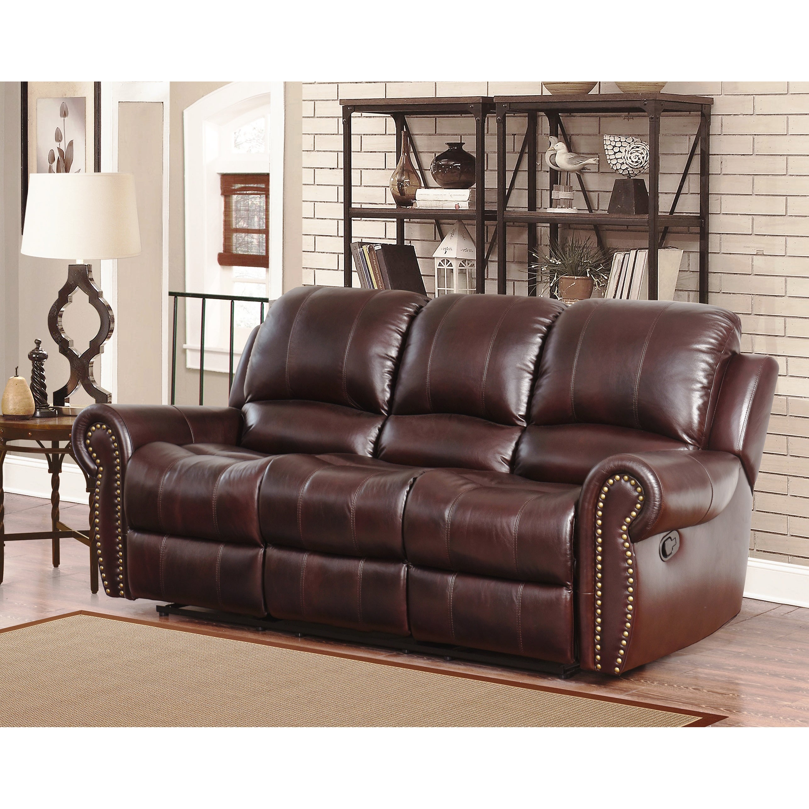 Abbyson Broadway Top Grain Leather Reclining Sofa (Burgun...