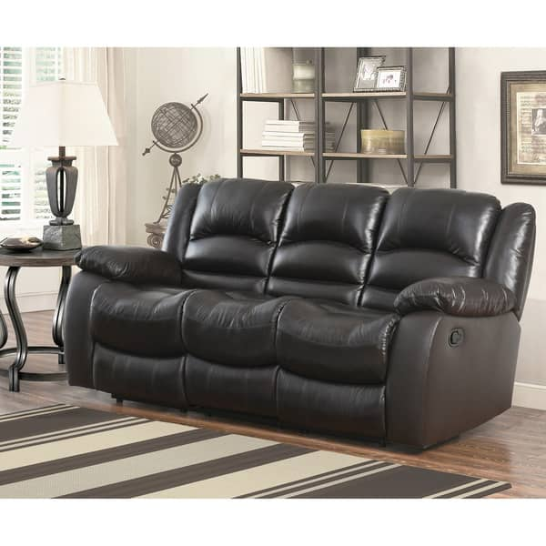 Shop Abbyson Brownstone Top Grain Leather Reclining Sofa - On Sale ...