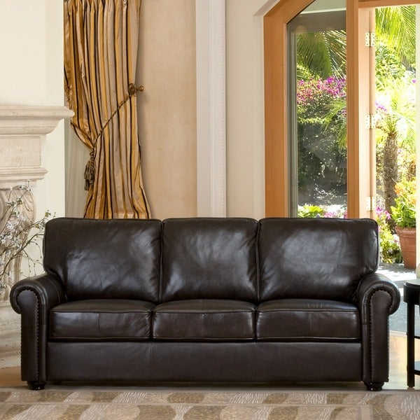 Abbyson London Premium Top Grain Leather Sofa ...
