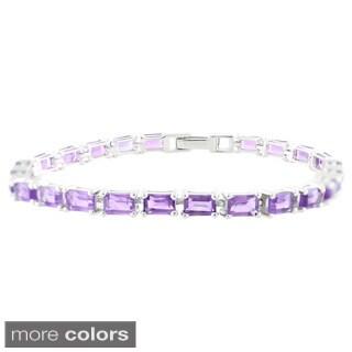 Sterling Silver Baguette Gemstone Line Bracelet