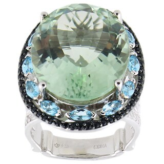 Dallas Prince Sterling Silver 18 5/8ct TGW Multi-gemstone Ring