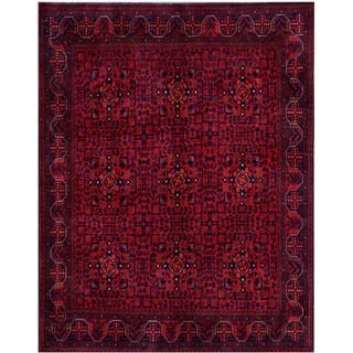 Herat Oriental Afghan Hand-knotted Tribal Khal Mohammadi Red/ Navy Wool Rug (5'10 x 7'5)