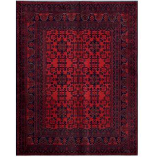 Herat Oriental Afghan Hand-knotted Tribal Khal Mohammadi Red/ Black Wool Rug (5'10 x 7'5)