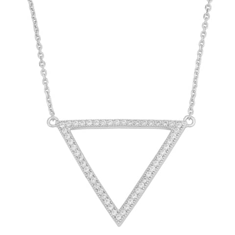 Fremada Rhodium-plated Sterling Silver Cubic Zirconia Triangle Necklace
