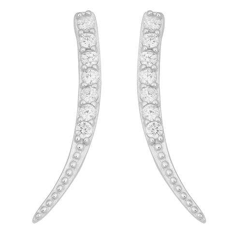 Fremada Rhodium-plated Sterling Silver Cubic Zirconia Tusk Earrings