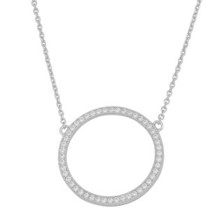 Fremada Rhodium-plated Sterling Silver Cubic Zirconia Circle Necklace