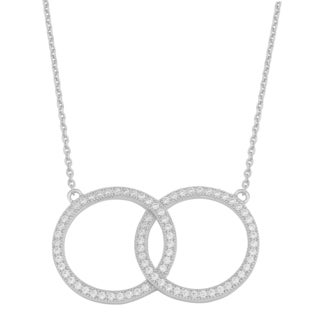 Fremada Rhodium-plated Sterling Silver Cubic Zirconia Double Circle Necklace