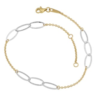 Fremada 14k Two-tone Gold Textured Triple Oval Station Anklet
